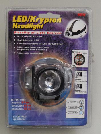 Φακός με 3LED+1Krypton με Λάστιχο για Στήριξη στο Κεφάλι-Κράνος